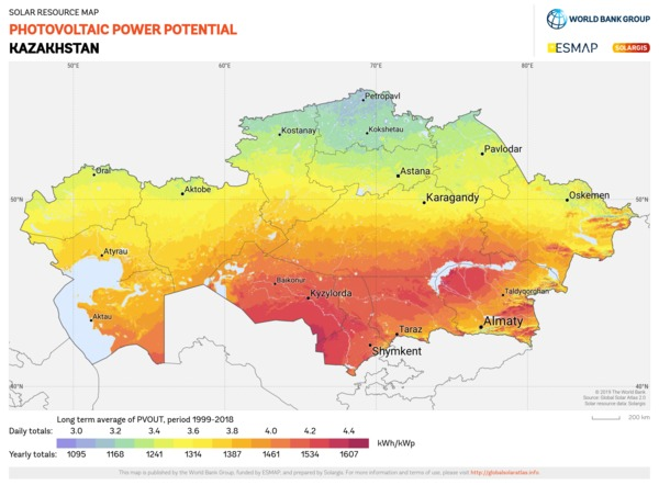 Photovoltaic Electricity Potential, Kazakhstan