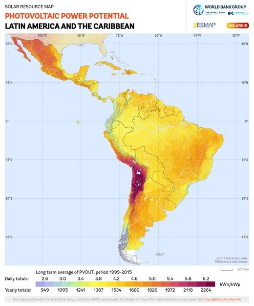 Photovoltaic Electricity Potential, Latin America and Caribbean