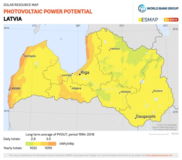 Photovoltaic Electricity Potential, Latvia