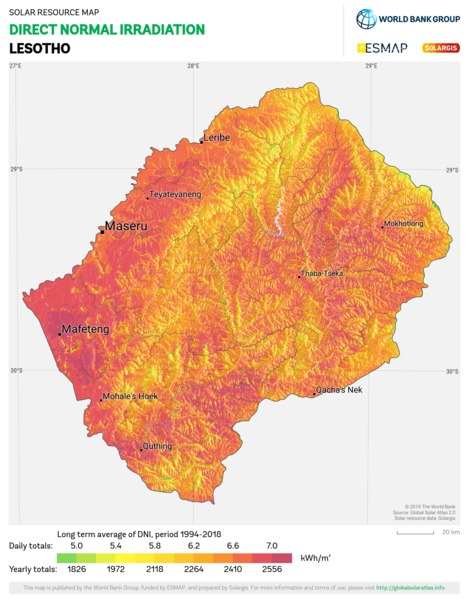 Direct Normal Irradiation, Lesotho