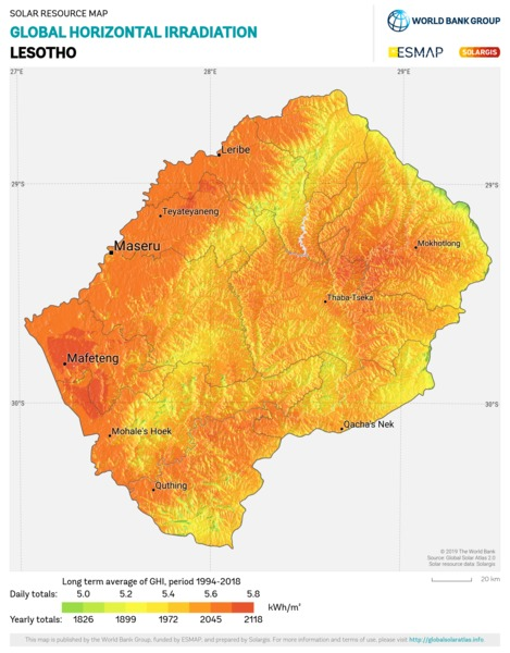 Global Horizontal Irradiation, Lesotho