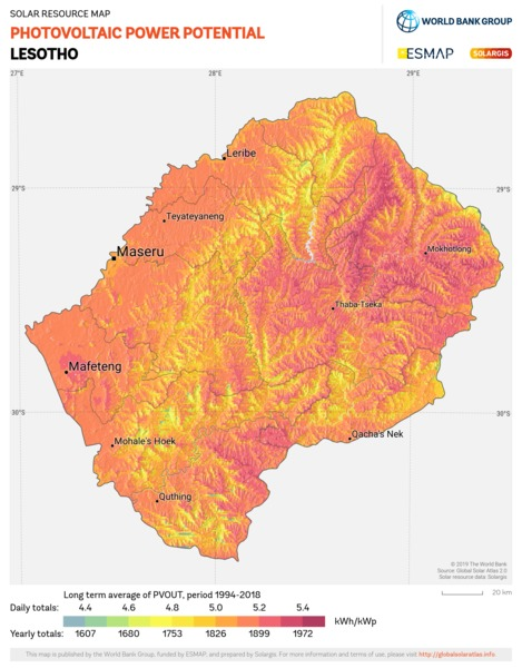 Photovoltaic Electricity Potential, Lesotho