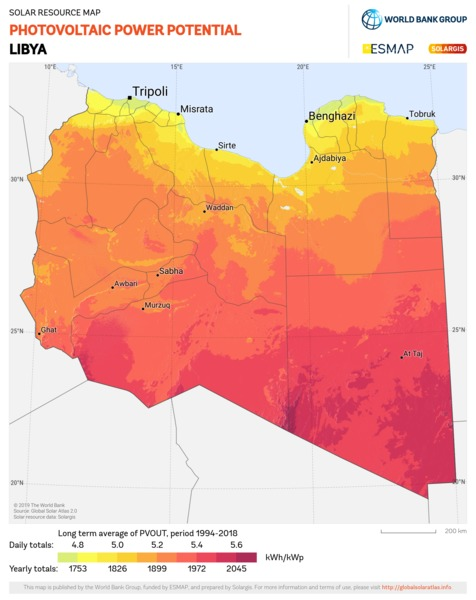 Photovoltaic Electricity Potential, Libya