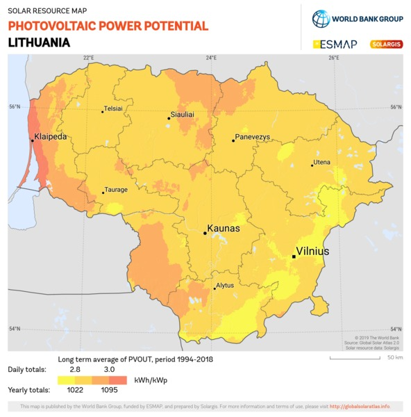 Photovoltaic Electricity Potential, Lithuania