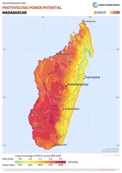 Photovoltaic Electricity Potential, Madagascar