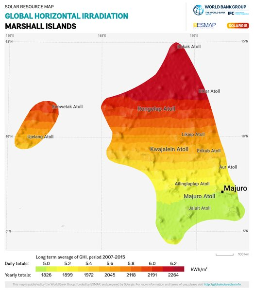 Global Horizontal Irradiation, Marshall Islands