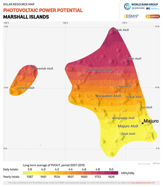 Photovoltaic Electricity Potential, Marshall Islands