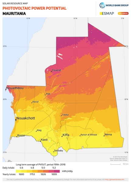 Photovoltaic Electricity Potential, Mauritania