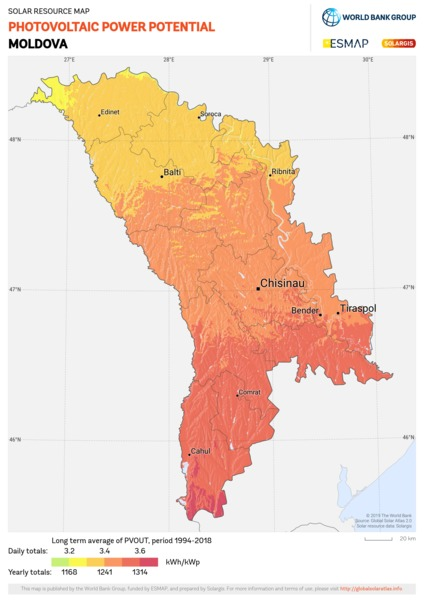 Photovoltaic Electricity Potential, Moldova