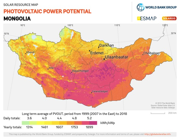 Photovoltaic Electricity Potential, Mongolia
