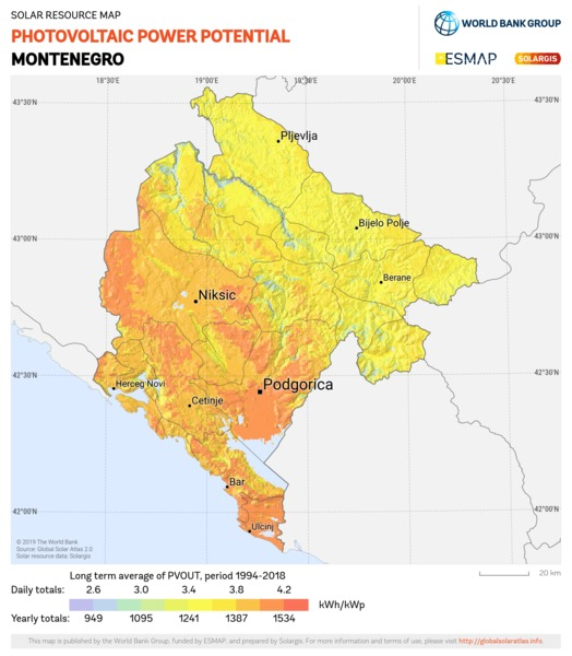 Photovoltaic Electricity Potential, Montenegro