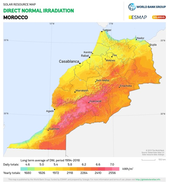 Direct Normal Irradiation, Morocco