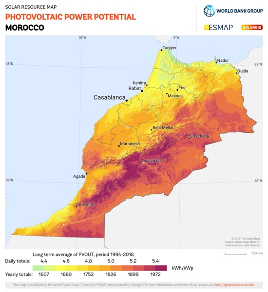 Photovoltaic Electricity Potential, Morocco