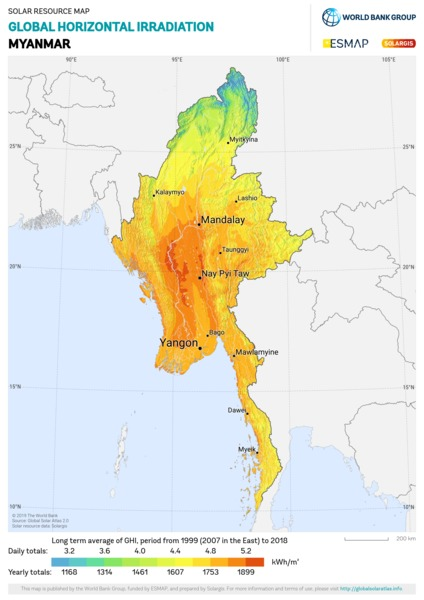 Global Horizontal Irradiation, Myanmar
