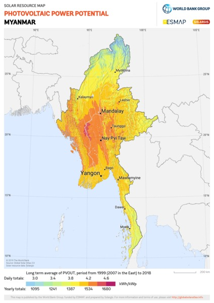 Photovoltaic Electricity Potential, Myanmar