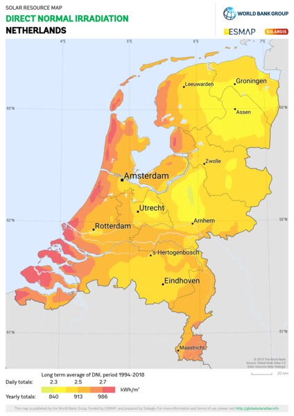 Direct Normal Irradiation, Netherlands