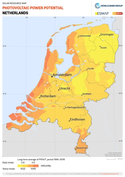 Photovoltaic Electricity Potential, Netherlands