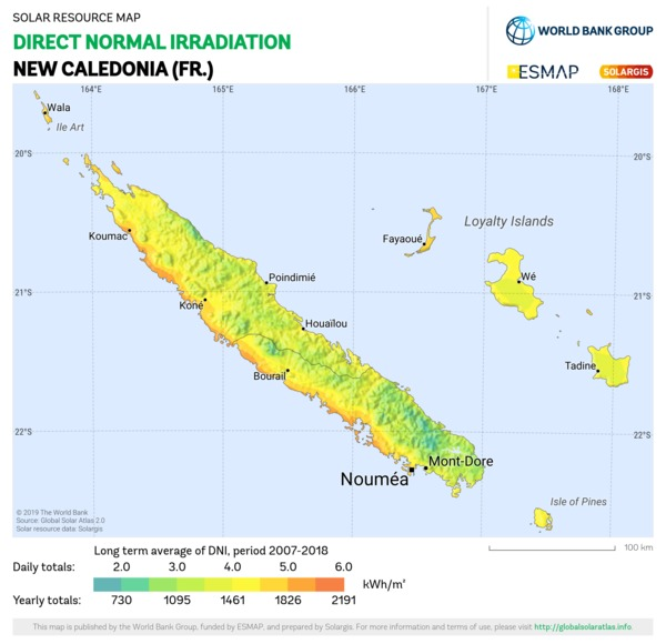 Direct Normal Irradiation, New Caledonia (FR)