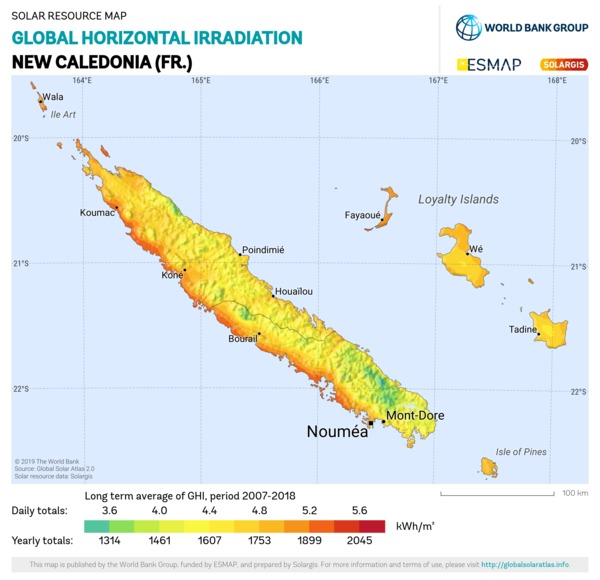 Global Horizontal Irradiation, New Caledonia (FR)