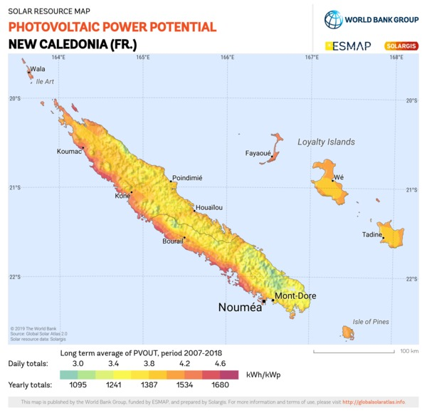 Photovoltaic Electricity Potential, New Caledonia (FR)
