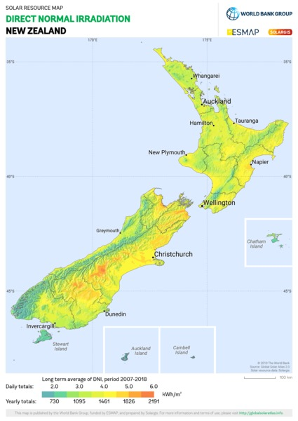 Direct Normal Irradiation, New Zealand