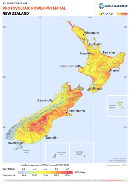 Photovoltaic Electricity Potential, New Zealand