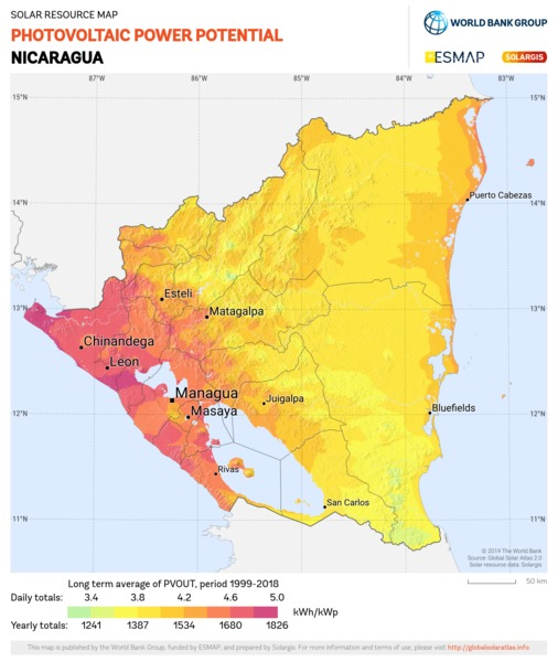 Photovoltaic Electricity Potential, Nicaragua