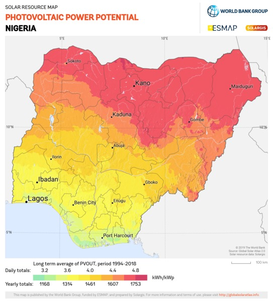 Photovoltaic Electricity Potential, Nigeria
