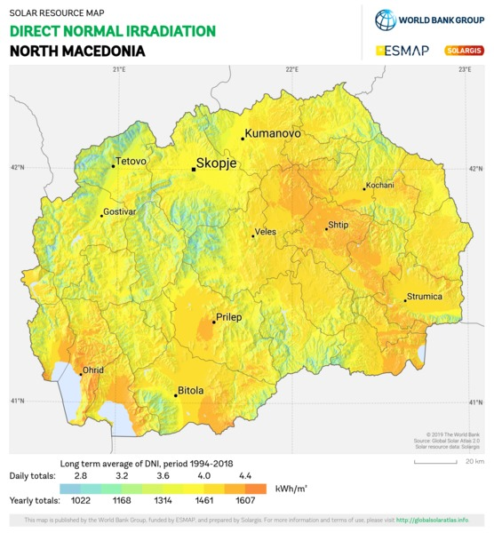 Direct Normal Irradiation, North Macedonia