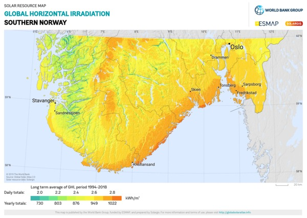 Global Horizontal Irradiation, Norway
