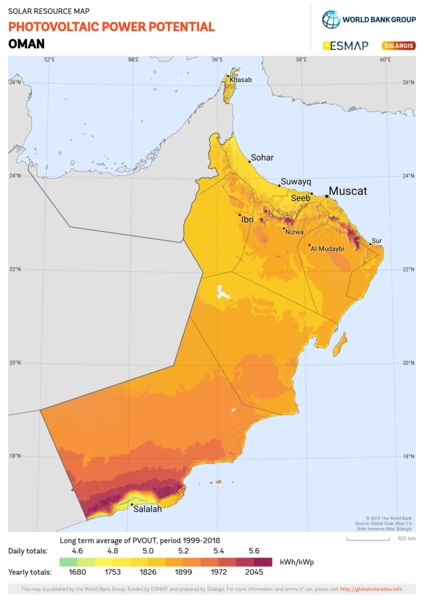 Photovoltaic Electricity Potential, Oman