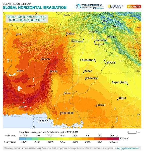 Global Horizontal Irradiation, Pakistan