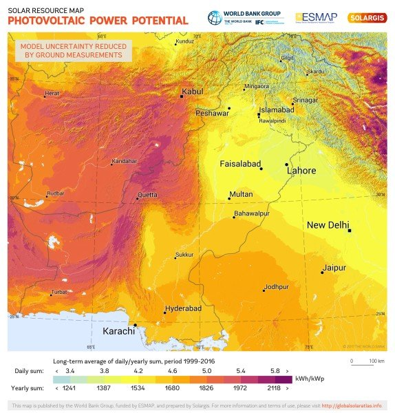 Photovoltaic Electricity Potential, Pakistan