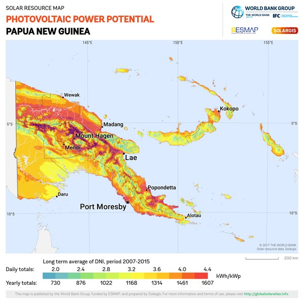 Photovoltaic Electricity Potential, Papua New Guinea