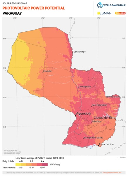 Photovoltaic Electricity Potential, Paraguay