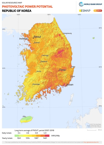Photovoltaic Electricity Potential, Republic of Korea