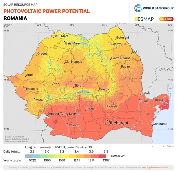 Photovoltaic Electricity Potential, Romania