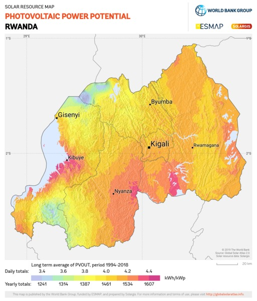 Photovoltaic Electricity Potential, Rwanda