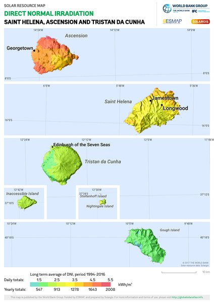 Direct Normal Irradiation, Saint Helena, Ascension and Tristan da Cunha