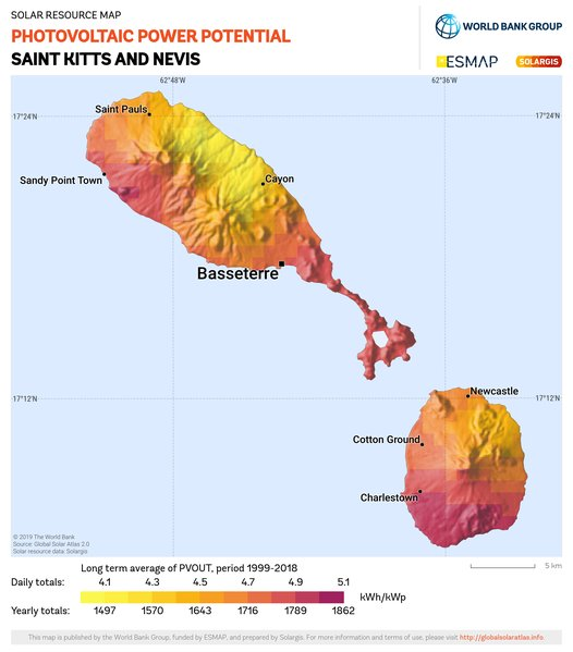 Photovoltaic Electricity Potential, Saint Kitts and Nevis