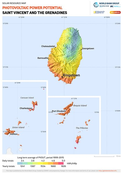 Photovoltaic Electricity Potential, Saint Vincent and the Grenadines