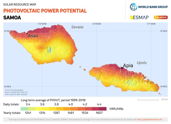 Photovoltaic Electricity Potential, Samoa
