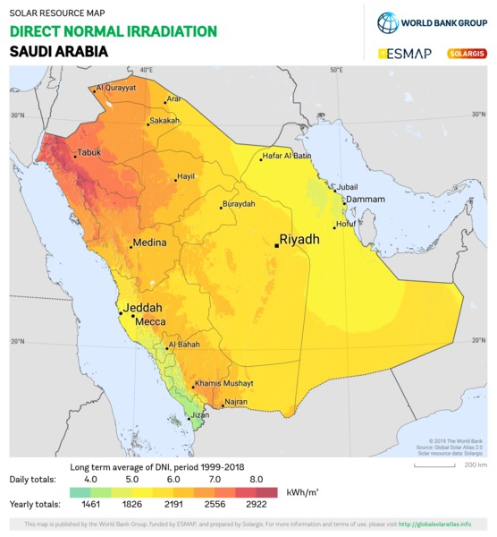 Direct Normal Irradiation, Saudi Arabia