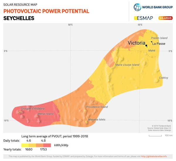 Photovoltaic Electricity Potential, Seychelles