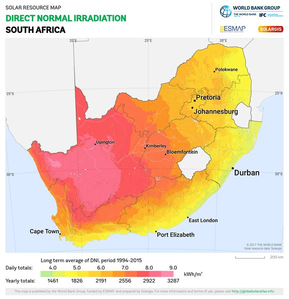Direct Normal Irradiation, South Africa