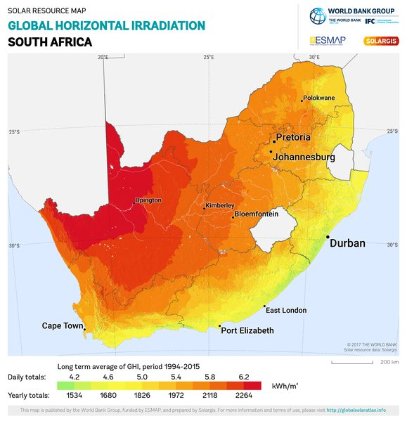 Global Horizontal Irradiation, South Africa