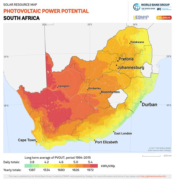 Photovoltaic Electricity Potential, South Africa