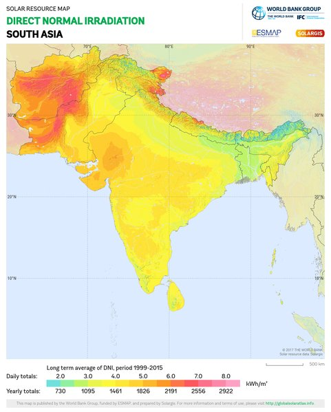 Direct Normal Irradiation, South Asia