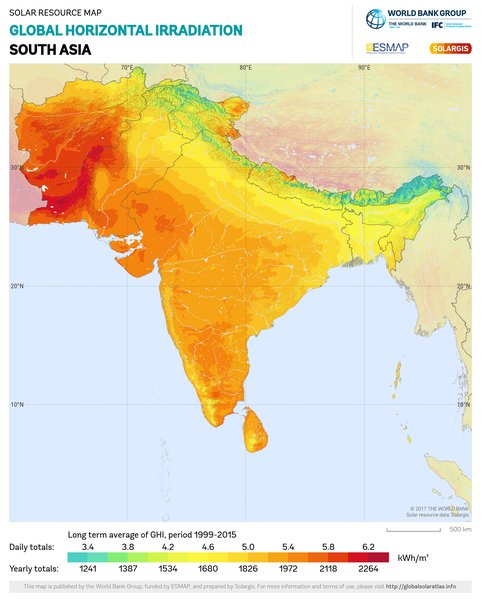 Global Horizontal Irradiation, South Asia