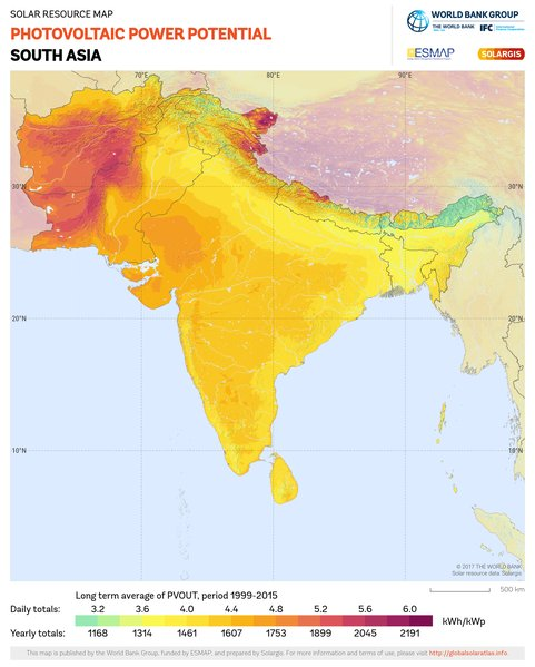 Photovoltaic Electricity Potential, South Asia